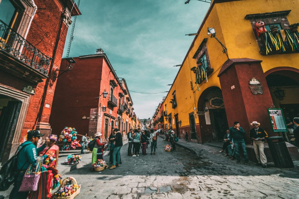 street in Mexico with pedestrians